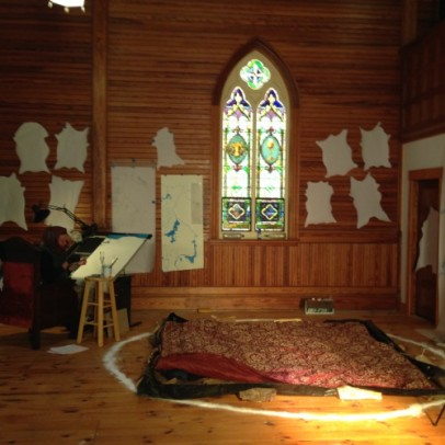Emily Rose Michaud working in the church, Fall 2015 Artist Residency