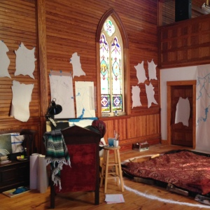 Emily Rose Michaud's studio during her Fall 2015 Artist in Residence